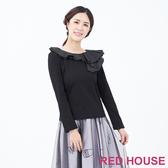 【RED HOUSE 蕾赫斯】異素材拼接波浪棉上衣(黑色)