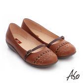 A.S.O 舒適樂活 全真皮沖孔低跟奈米休閒鞋  茶