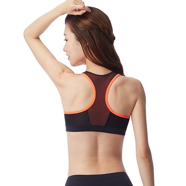 【MACACA】撐托美胸zipper bra-AUA0441(黑/ 橘紅)(瑜伽/慢跑/健身/中強度運動)