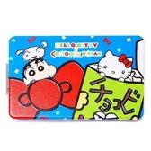 〔小禮堂〕Hello Kitty x 蠟筆小新長方形塑膠隨身雙面鏡《藍綠大臉》放大鏡折鏡4522654 06598