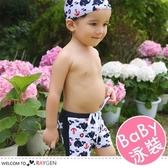 男童海豚船錨圖案泳褲+泳帽 2件/組