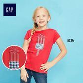 Gap女童 舒適簡約圓領印花短袖T恤 306659-紅色
