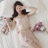 睡衣女春夏季吊帶性感冰絲套裝兩件套無袖韓版寬鬆闊腿短褲家居服  良品鋪子