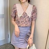 實拍 【C2800】夏季新款紫色碎花娃娃領泡泡袖仙氣短袖雪紡衫上衣女