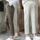 漂亮小媽咪 棉麻托腹褲 【P9000】 純色 哈倫褲 M-XXL 孕婦 高腰 托腹褲 九分褲 老爺褲