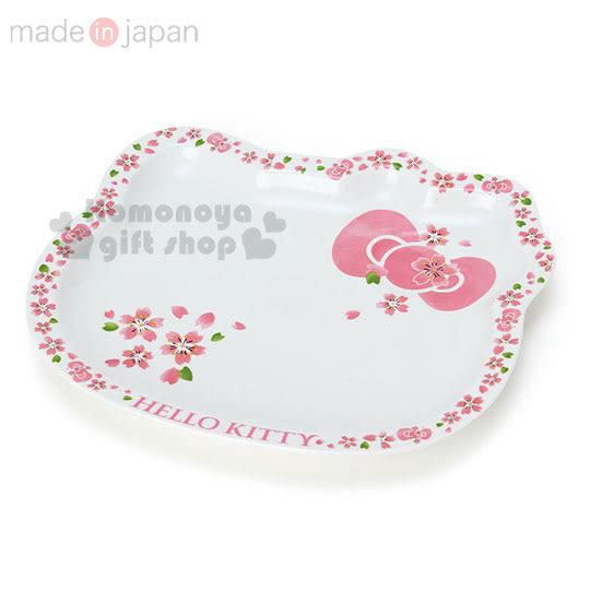 〔小禮堂〕Hello Kitty 日製造型陶瓷盤《大.白粉.櫻花.大臉型》櫻花系瓷器 4562384-47631