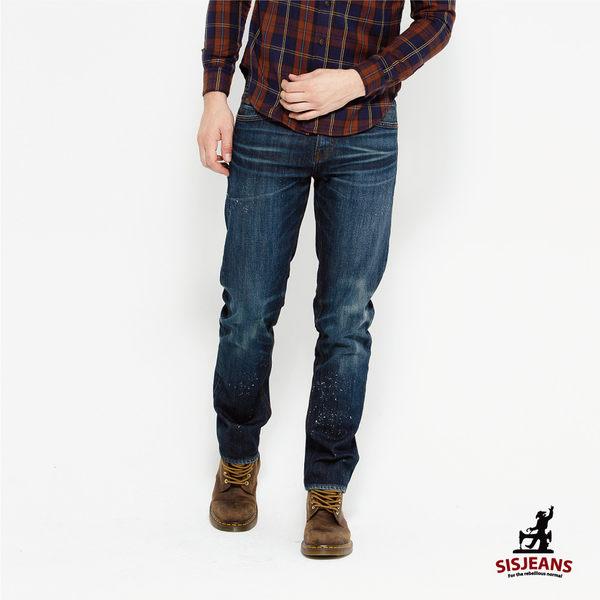 SISJEANS-深藍潑漆直筒牛仔褲【16271001】