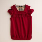 【金安德森】PIMA雙荷葉女童上衣-紅色
