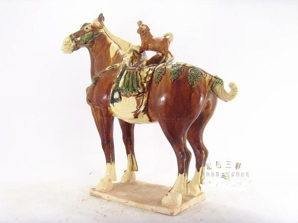 馬上封候 唐三彩陶瓷藝術收藏仿古擺件