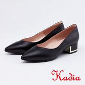 kadia.OL首選尖頭金屬粗跟鞋(0055-90黑色)