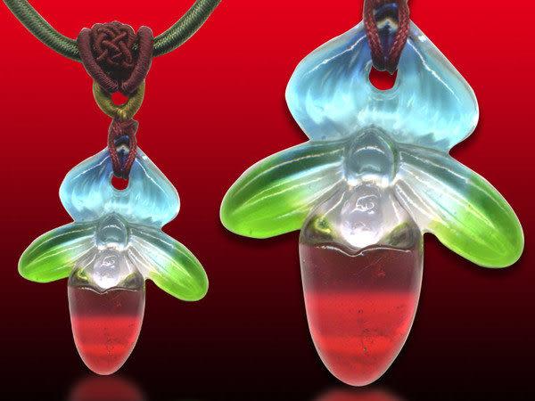 鹿港窯~居家開運水晶琉璃項鍊~仙履蘭(脫鞋蘭花) ◆附精美包裝 ◆免運費送到家