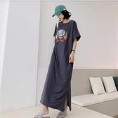 洋裝開叉裙長裙中大尺碼L-3XL/加長款寬鬆大碼女裝短袖印花連身裙景F5-6139.胖胖美依