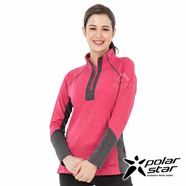 PolarStar 女 麻花吸排立領長袖衣『玫瑰紅』P19252 戶外│休閒│登山│露營│排汗│機能│POLO衫