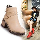 丁果、大尺碼女鞋34-43►2018新款雙扣帶環中跟馬丁靴短靴子*4色