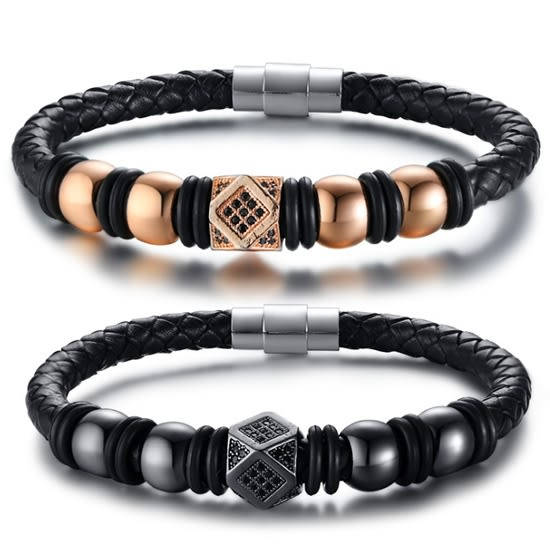 《 QBOX 》FASHION 飾品【LBL-480】精緻個性聚能量多邊形鑲鑽鈦鋼編織皮革手鍊/手環(二色)