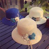 帽子女春夏天正韓草帽雙色花朵禮帽沙灘帽遮陽帽防曬太陽帽夏季潮  萬聖節禮物