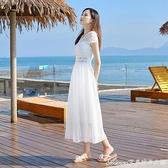 沙灘洋裝雪紡連身裙女新款蕾絲顯瘦沙灘裙海邊度假長裙氣質白色仙女裙 快速出貨