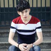 夏季V領男士短袖T恤青少年夏天韓版打底衫學生休閒體恤上衣服   檸檬衣舍