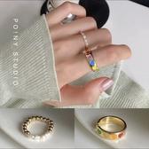 日系彩色愛心珍珠戒指女ins潮時尚個性珠子食指戒女甜美簡約指環