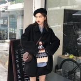 2020新款復古寬鬆中長款氣質長袖風衣毛呢外套女