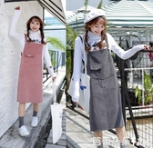 春秋新款寬鬆軟妹吊帶裙女日系可愛學院風原宿風燈芯絨洋裝『快速出貨』