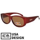 【福利品】大版-紅色-UV400偏光包覆式太陽眼鏡 護目鏡 防風鏡 運動墨鏡(1086-C4)