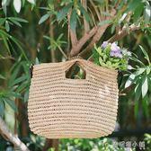 藍格新款女包海邊度假紙草編包休閒手提包潮流單肩包包 ATF安妮塔小舖