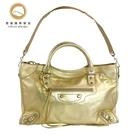 【雪曼國際精品】Balenciaga 巴黎世家 CLASSIC CITY 銀釦羊皮機車包 限量款金色-未使用9.6成新