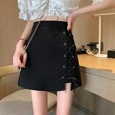 短裙 設計感小眾黑色短裙春秋2021新款高腰顯瘦半身裙女百搭A字包臀裙