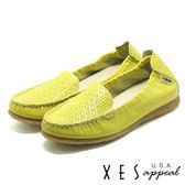 全真皮 XES 女鞋 懶人鞋 樂福鞋 便鞋 MIT製_黃