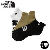 【The North Face 運動襪-三雙組《黑/卡其/白》】3RJC/吸濕透氣/耐磨/短襪/襪子/跑步
