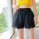 春夏日系雙層寬鬆刺繡鏤空花邊短褲內搭褲安全褲蕾絲打底褲可外穿 艾尚旗艦店