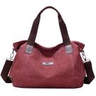 帆布手提包-大容量簡約休閒純色女肩背包5...