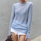 長袖女新品春秋淡藍色微透超舒適長袖上衣顯瘦基礎打底衫素色t恤女 夏季新品