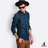 SISJEANS-深藍刷色牛仔襯衫【15274003】
