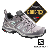 【SALOMON 法國】女X ULTRA3 GTX低筒登山鞋『磁灰/鯊魚灰/玻璃藍』401670 越野鞋.健行鞋.低筒.短筒