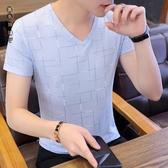 男士短袖大碼t恤冰絲V領潮流夏季新款半袖體恤男裝韓版青年修身上衣服LXY6885[黑色妹妹]