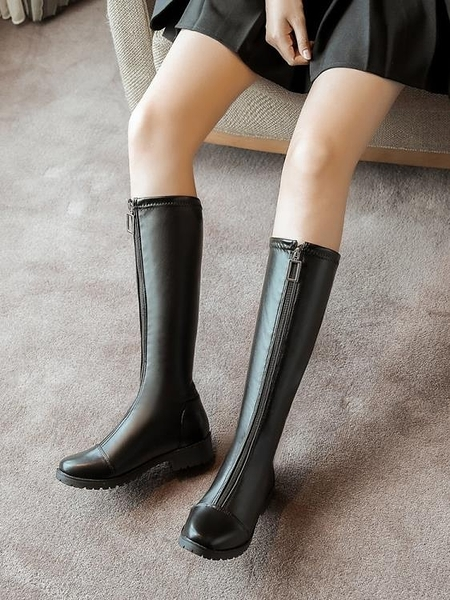 長靴 高筒靴女冬加絨2021年新款大碼不過膝長靴英倫風黑色顯瘦騎士靴子 歐歐
