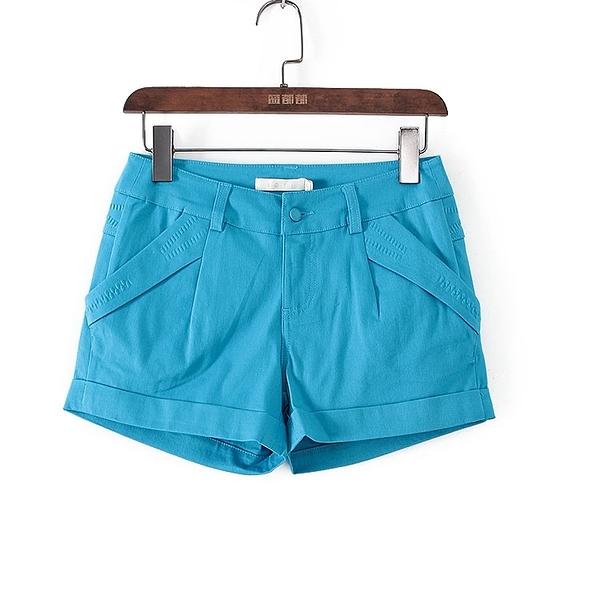 [超豐國際]帛春夏裝女裝電光藍純色休閑壓印短褲 40528(1入)