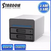 富廉網STARDOM ST2 SB3 3 5 吋2 5 吋USB3 0 eSATA 2ba