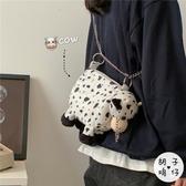 韓國ins街拍復古毛絨玩偶軟妹小包包日系原宿可愛奶牛少女斜背包 貝芙莉