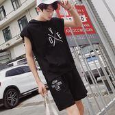 夏季男士短袖T恤套裝青少年學生嘻哈寬鬆休閒兩件套韓版潮流衣服 依凡卡時尚