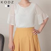 東京著衣【KODZ】微透性感立體壓紋網紗拼接喇叭袖雪紡上衣-S.M.L(190997)