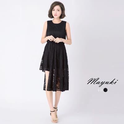 東京著衣-不規則下襬蕾絲無袖洋裝-XS.S.M(6017006)