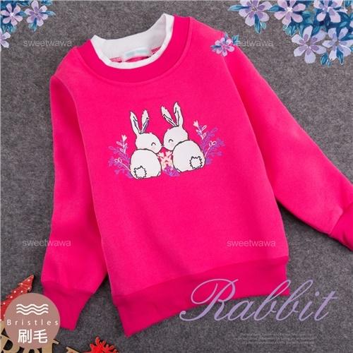 禦寒保暖~相親相愛兔兔長袖上衣(厚棉,內刷毛)(300743)【水娃娃時尚童裝】