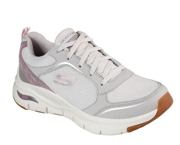 Skechers ARCHFIT-GENTLE STRIDE 女款白灰紫健走鞋-NO.149413LGPR