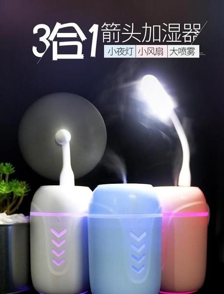 禮品訂製三合一迷你便攜家用靜音臥室桌面小型USB夜燈加濕 【米娜小鋪】