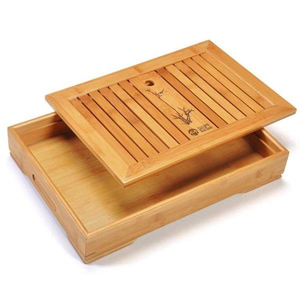 竹制茶盤套裝抽屜式 長方形排水小號茶海茶臺 儲水家用簡約茶托盤【叢林之家】