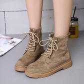 踝靴 短靴女靴子時尚百搭馬丁靴休閒系帶及踝靴女鞋子 辛瑞拉