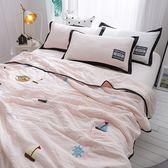 韓式可水洗毛巾繡夏涼被(含枕套)-粉橘帆船